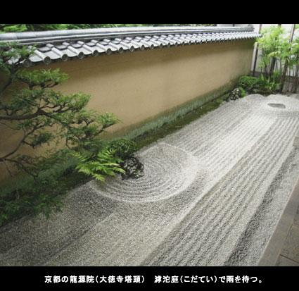 京都の龍源院(大徳寺塔頭 こ沱庭(こだてい)で雨を待つ。