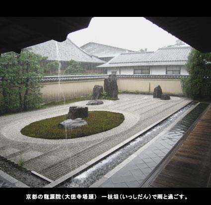京都の龍源院(大徳寺塔頭) 一枝坦(いっしだん)で雨と過ごす。