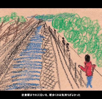 岩倉駅までの川沿いを、朝歩くのは気持ちがよかった